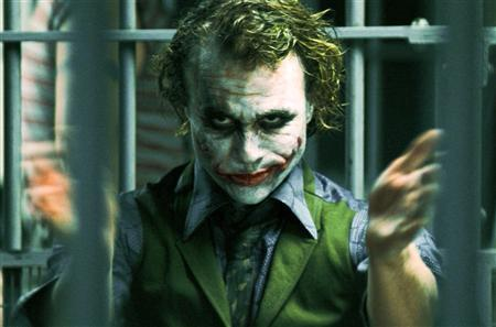 The late actor Heath Ledger playing his role as The Joker in ''The Dark Knight''. REUTERS/Warner Bros Studio/Handout