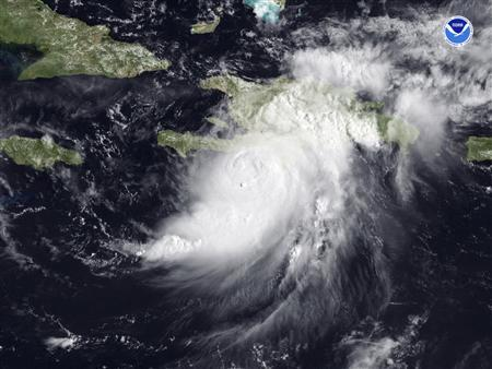 Hurricane Gustav is seen in this satellite image dated August 26, 2008. Hurricane Gustav barreled toward vulnerable Haiti Tuesday and could become the first major storm to threaten U.S. oil and gas production in the Gulf of Mexico since the devastating 2005 hurricane season. REUTERS/NOAA/Handout