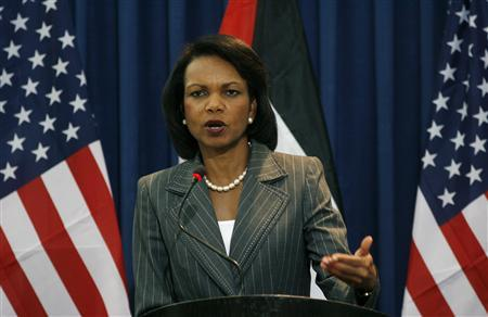 Secretary of State Condoleezza Rice addresses the media during a joint news conference with Palestinian President Mahmoud Abbas (not pictured) in the West Bank city of Ramallah August 26, 2008. REUTERS/Fadi Arouri