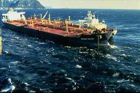 The Exxon Valdez is grounded on Bligh Reef in Alaska in this 1989 file photo. REUTERS/NOAA/Handout