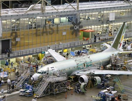 A passenger jet is being manufactured in a Boeing facility in a handout photo. REUTERS/Boeing/Handout
