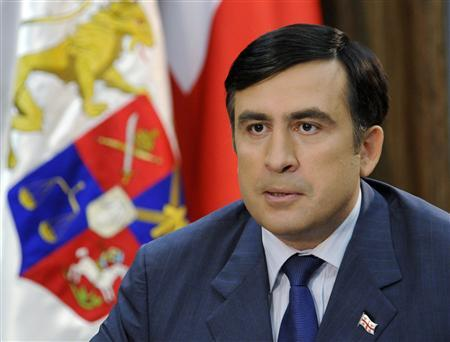 Georgia's President Mikheil Saakashvili speaks during his televised address in Tbilisi, August, 26, 2008. REUTERS/Irakli Gedenidze/Pool