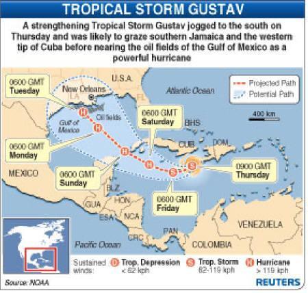 8月28日、IEAは熱帯性暴風雨「グスタフ」で被害が出れば戦略石油備蓄放出の用意があると表明(2008年 ロイター)