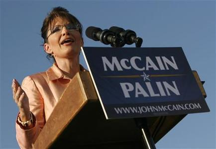 US Republican vice-presidential candidate Alaska Governor Sarah Palin campaigns in Washington, Pennsylvania August 30, 2008. REUTERS/John Gress
