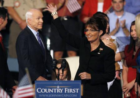 Alaska Governor Sarah Palin (R) acknowledges the crowd after being introduced as the vice presidential candidate by U.S. Republican presidential candidate Senator John McCain (R-AZ) at a campaign event in Dayton, Ohio August 29, 2008. REUTERS/Matt Sullivan