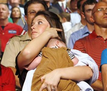 Bristol Palin , the 17-year-old daughter of Republican vice presidential candidate Sarah Palin, is seen holding her brother Trig at a campaign event in Dayton, Ohio, August 29, 2008. REUTERS/John Gress