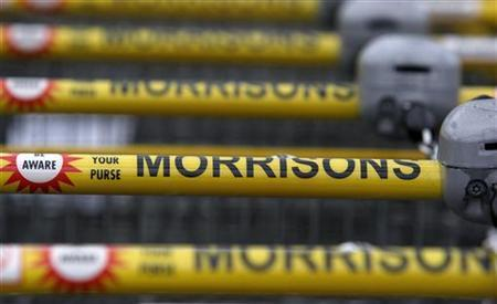 A row of shopping trolleys stand outside the Morrisons supermarket in Blackpool, March 10, 2008. REUTERS/Phil Noble