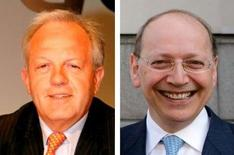 <p>Philippe Camus (à gauche) a été nommé au poste de président du conseil d'administration d'Alcatel-Lucent et Ben Verwaayen à la direction générale, un mois après l'annonce de la démission de Serge Tchuruk et de Patricia Russo. /Photos d'archives/REUTERS/Charles Platiau</p>