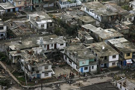 An aerial view shows houses damaged by Hurricane Gustav in Nueva Gerona on the Isle of Youth September 2, 2008. REUTERS/Claudia Daut