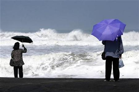 Tourists watch high waves in Parangtritis beach outside Yogyakarta, Central Java, May 19, 2007. REUTERS/Dwi Oblo