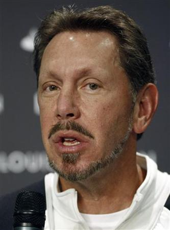 Larry Ellison, owner of America's Cup Challenger BMW Oracle Racing, attends a news conference one day before the Valencia Louis Vuitton Cup competition in Valencia April 15, 2007. REUTERS/Heino Kalis