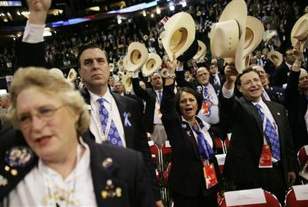 Texas delegates wave their hats during the National Anthem at the start of the 2008 Republican National Convention in St. Paul, Minnesota September 3, 2008. REUTERS/Damir Sagolj
