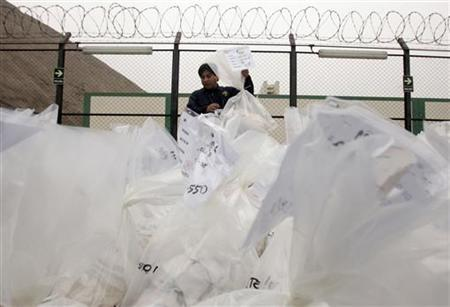 An anti-narcotics worker displays bags containing cocaine before their incineration in Lima July 2, 2008. REUTERS/Pilar Olivares