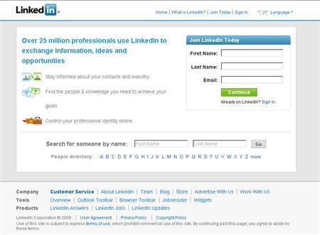 A screenshot of LinkedIn.com, taken on September 4, 2008. REUTERS/www.linkedin.com