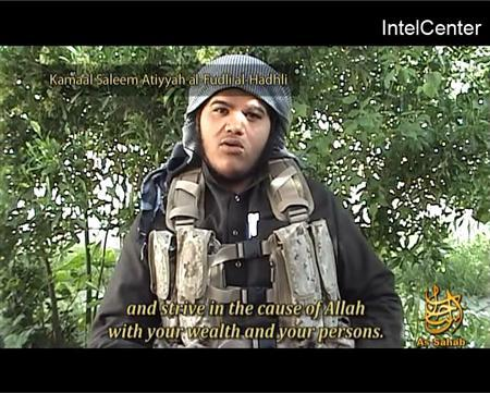 A suicide bomber named on screen as Kamaal Saleem Atiyyah al-Fudli al-Hadhli, also known as Abu Ghareebal-Makki, speaks in this image taken from internet video footage. Al Qaeda issued new threats against Denmark in an Internet video released on Friday, saying an attack on the Danish Embassy in Pakistan is just the start of its retaliation for perceived insults to the Prophet Mohammad. REUTERS/Intelcentre/Handout