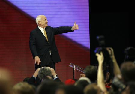 U.S. Republican presidential nominee Senator John McCain (R-AZ) gives a thumb up after accepting the nomination during the fourth and final day of the 2008 Republican National Convention in St. Paul, Minnesota, September 4, 2008. REUTERS/John Gress