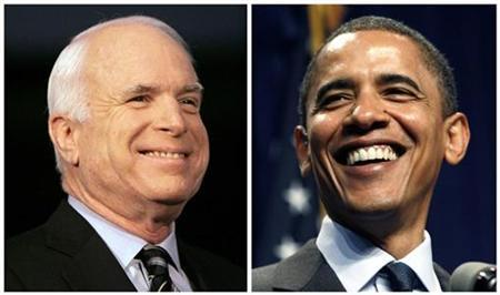 Presidential nominees Senator John McCain (R-AZ) and Senator Barack Obama (D-IL) are shown in this combination of file photographs from campaign stops from July 18, 2008 in Warren Michigan (McCain) and August 4, 2008 (Obama) in Lansing, Michigan. REUTERS/Rebecca Cook