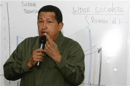 President Hugo Chavez meets with managers of the New SIDOR to discuss ' Plan of the New SIDOR Socialist, during a television broadcast in Caracas, Venezuela. August 21, 2008. REUTERS/Miraflores/Handout