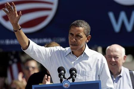 Democratic presidential nominee Senator Barack Obama speaks to the crowd at Hart Plaza following the annual Labor Day parade in Detroit, Michigan September 1, 2008. REUTERS/Rebecca Cook