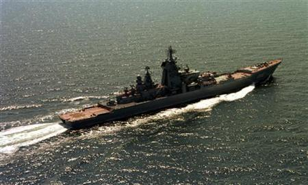 The Russian Navy's 19,000-ton nuclear-powered cruiser Peter the Great is seen in this June 2003 file photo. REUTERS/Stringer