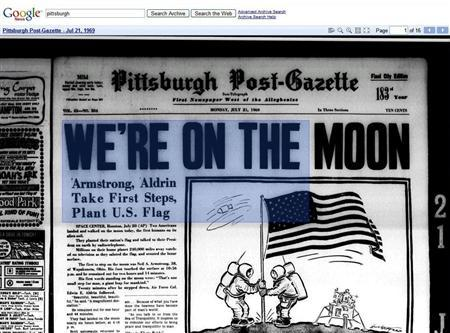 A Google screenshot of the front page of the Pittsburgh Post-Gazette from July 21, 1969. REUTERS/tinyurl.com/man-on-the-moon/