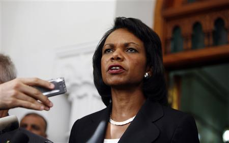 U.S. Secretary of State Condoleezza Rice speaks to journalists after her meeting with Algeria's President Abdelaziz Bouteflika at the presidential palace in Algiers September 6, 2008. REUTERS/Zohra Bensemra
