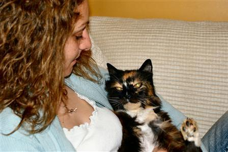 Dixie, a 15-year-old cat, is reunited with her owner Gilly Delaney after going missing nine years ago, in an undated photo. REUTERS/RSPCA/Handout