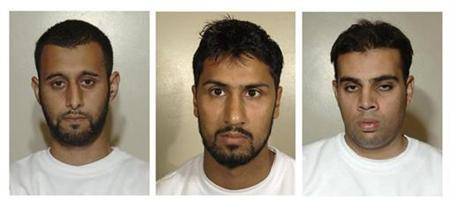 Britons (L-R) Tanvir Hussain, Abdullah Ahmed Ali and Assad Sarwar are seen this combination photo of police handouts received on July 14, 2008. The three were found guilty on September 8, 2008 of conspiracy to kill using homemade liquid bombs, but a jury failed to agree that they intended to blow up transatlantic airliners in an al Qaeda-style attack.REUTERS/Metropolitan Police/Files/Handout