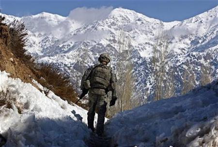 A U.S. soldier patrols the Jaji district of the southeastern Paktia province, near the Afghan-Pakistan border January 28, 2008. REUTERS/Ahmad Masood