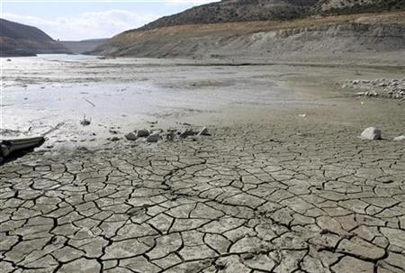 A dry reservoir bed is seen at Kouris dam in Limassol district, Cyprus, November 9, 2007. REUTERS/Andreas Manolis