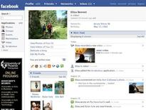 <p>A Facebook profile page in an undated image courtesy of the company. REUTERS/Handout</p>