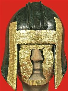 A warrior helmet excavated in northern Greece is depicted in this handout photograph distributed by the Greek Culture Ministry, September 11, 2008. REUTERS/Greek Culture Ministry/Handout