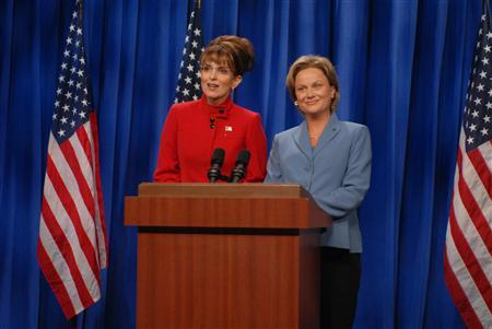 Tina Fey as Sarah Palin (R) and Amy Poehler as Hillary Clinton are seen in a frame from the September 13, 2008 episode of Saturday Night Live. REUTERS/Dana Edelson/NBC Photo/Handout