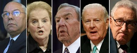 A combination image showing former U.S. Secretaries of State (L-R) Colin Powell, Madeline Albright, Warren Christopher, James Baker and Henry Kissinger. REUTERS/(L-R)Chip East/Jason Reed/Joe Skipper/Jason Reed/Osman Orsal