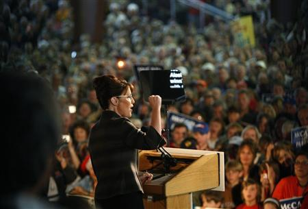 Republican vice-presidential nominee and Alaska Governor Sarah Palin speaks in Golden, Colorado September 15, 2008. REUTERS/Rick Wilking