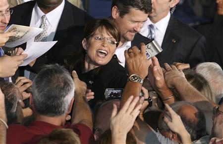 Republican vice-presidential nominee Alaskan Governor Sarah Palin shakes hands with supporters after a rally with U.S. Republican presidential nominee Senator John McCain (R-AZ) in Vienna, Ohio September 16, 2008. REUTERS/Aaron Josefczyk