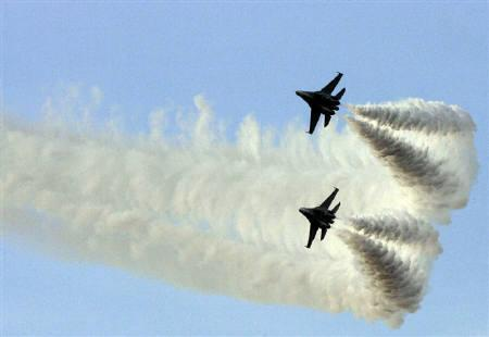 File photo of two Russian Sukhoi-30 jets. India has deployed its top fighter jets in Kashmir, ostensibly for better border management, but analysts said the move was aimed at Pakistan after relations between the nuclear-armed rivals soured in recent months. REUTERS/Francesco Spotorno/Files