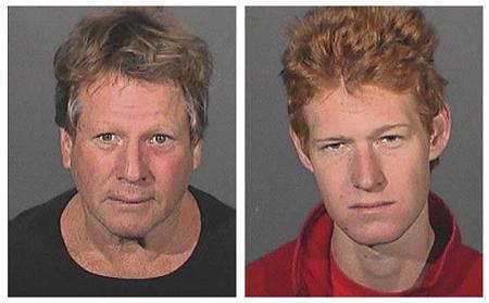 Actor Ryan O'Neal (L) and his son Redmond O'Neal are shown in a combination photograph of their booking mug shots released by the Los Angeles County Sheriff Department to Reuters September 17, 2008, following their arrest Wednesday for possession of a controlled substance. O'Neal and his son were each being held in jail in lieu of $10,000 bail, a sheriff's spokesperson said. REUTERS/Los Angeles County Sheriffs Department/Handout