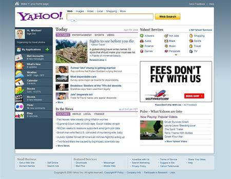 An undated screenshot of the new Yahoo home page. REUTERS/Handout