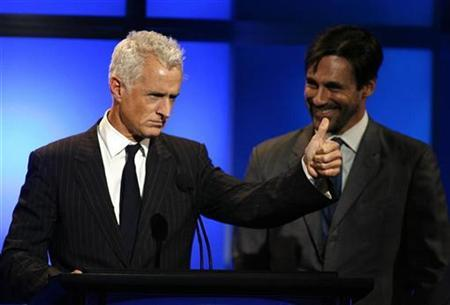 File photo shows actors John Slattery (L) and Jon Hamm during the 24th Annual Television Critics Association Awards in Beverly Hills July 19, 2008. REUTERS/Gus Ruelas