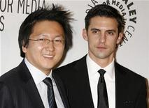 "<p>Actors Masi Oka (L) and Milo Ventimiglia, stars of the TV series ""Heroes"", pose as they arrive for the Paley Center for Media Los Angeles Gala honoring NBC's Jeff Zucker and Dick Ebersol in Los Angeles November 12, 2007. REUTERS/Fred Prouser</p>"