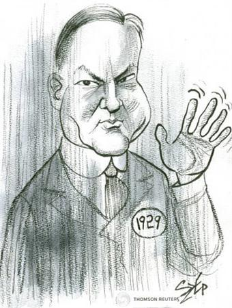 The ghost of Herbert Hoover in an illustration by Paul Szep. REUTERS/Paul Szep