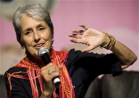 Joan Baez speaks during a news conference at the 42nd Montreux Jazz Festival in Montreux July 6, 2008. REUTERS/Valentin Flauraud