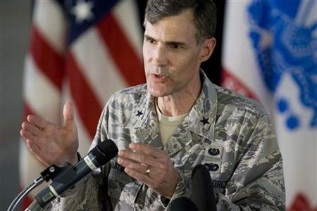 Brig. Gen. Thomas Hartmann, Legal Advisor for the Office of Military Commissions, briefs members of the media about the U.S. Military Commissions process, at the legal complex of the U.S. Military Commissions, at Guantanamo Bay U.S. Naval Base, in Cuba in this June 4, 2008 file photo. REUTERS/Brennan Linsley/Pool