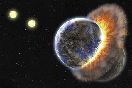 This artist's rendering, released September 19, 2008, shows a planetary collision in the constellation Aries. Masses of dust floating around a distant binary star system suggest that two Earth-like planets obliterated each other in a violent collision, U.S. researchers reported Friday. REUTERS/Lynette R. Cook/ UCLA/Handout