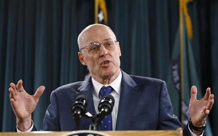 Treasury Secretary Henry Paulson speaks about the government's plan to attack financial market weakness by buying up risky loans at a news conference at the Treasury Department in Washington, September 19, 2008. REUTERS/Jason Reed