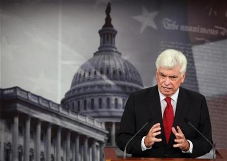 Chairman of the Senate Committee on Banking, Housing and Urban Affairs Senator Christopher Dodd (D-CT) speaks about the mortgage crisis on Capitol Hill in Washington September 16, 2008. REUTERS/Jim Young