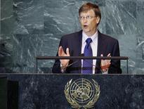<p>El fundador de Microsoft, Bill Gates, habla durante la Asamblea General de Naciones Unidas en Nueva York, 25 sep 2008. REUTERS/Mike Segar (UNITED STATES)</p>