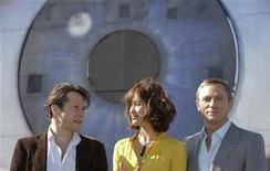 "<p>Actor Mathieu Amalric, Olga Kurylenko, Daniel Craig and Director Marc Forster pose during a photocall at the set of the 22nd James Bond film, ""Quantum of Solace"", in Bregenz, May 6, 2008. REUTERS/Miro Kuzmanovic</p>"