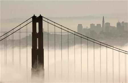 The skyline of San Francisco rises behind the fog-shrouded Golden Gate Bridge from the Marin Headlands in Sausalito, California September 24, 2008. REUTERS/Robert Galbraith